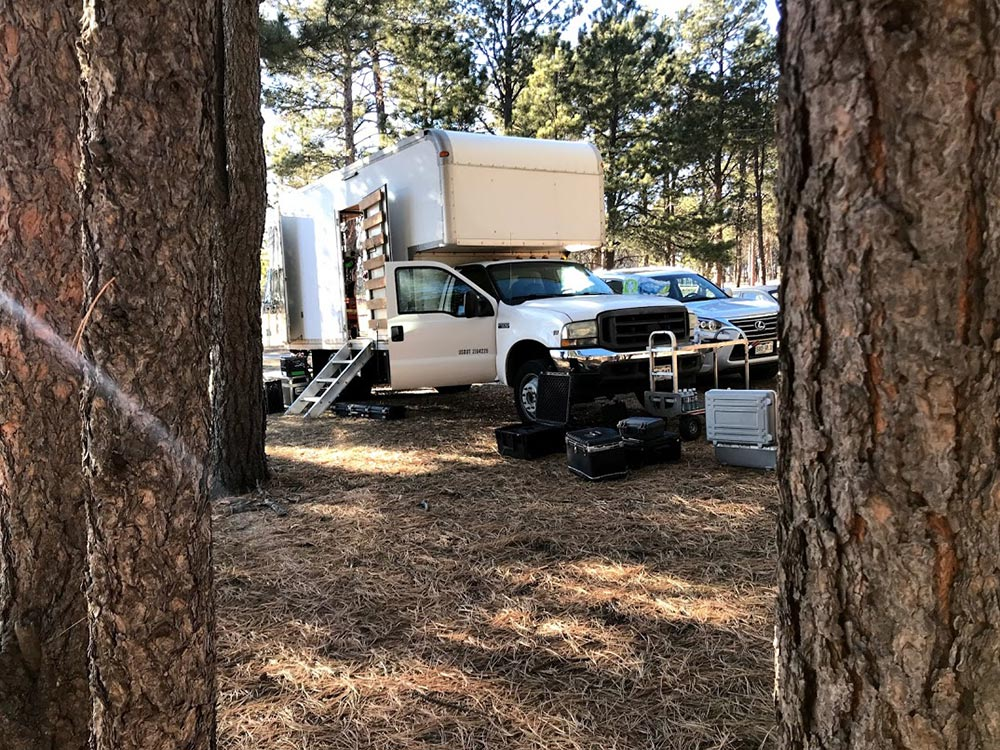 Grip truck shoot in woods for Discovery